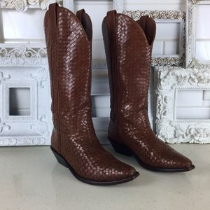 Cole Haan | Brown Woven Leather Cowboy Boots 7B